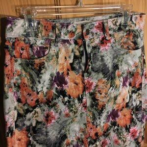 Dresses & Skirts - Floral jean skirt!